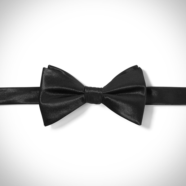Black Satin Pre-Tied Bow Tie