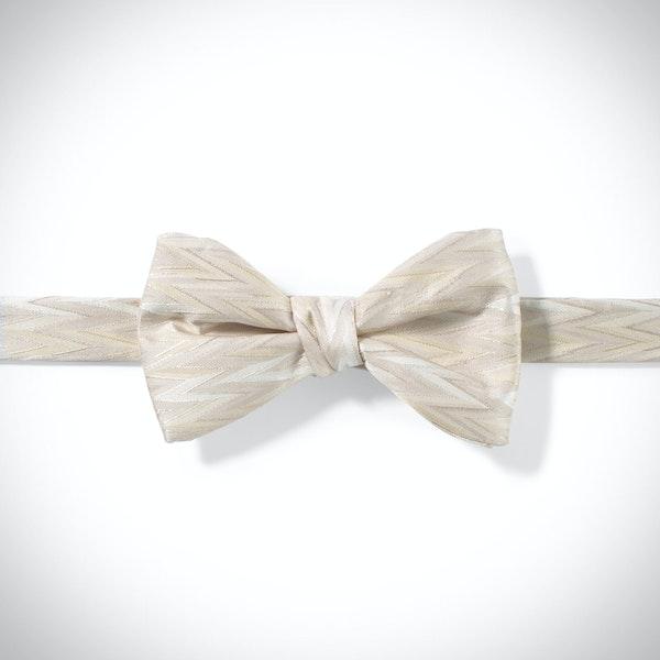Champagne Zig Zag Pre-Tied Bow Tie