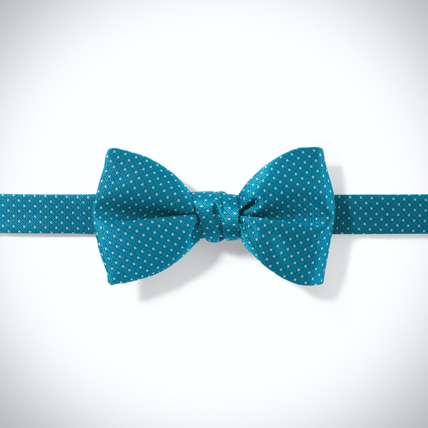 Pacific and White Pin Dot Bow Tie