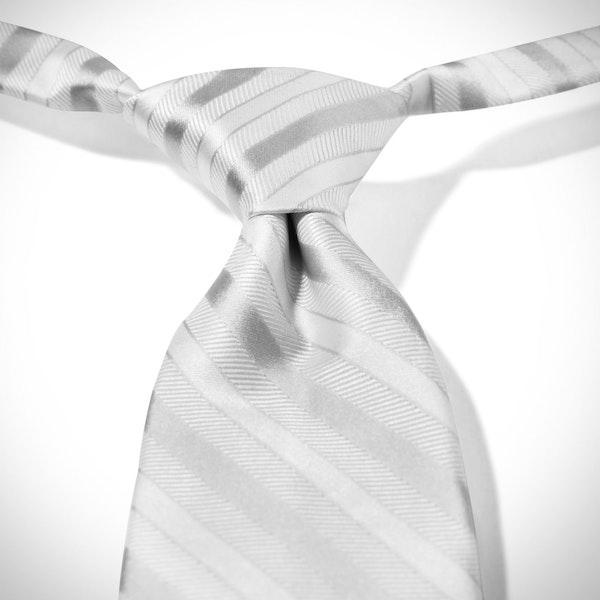 White Striped Pre-Tied Tie