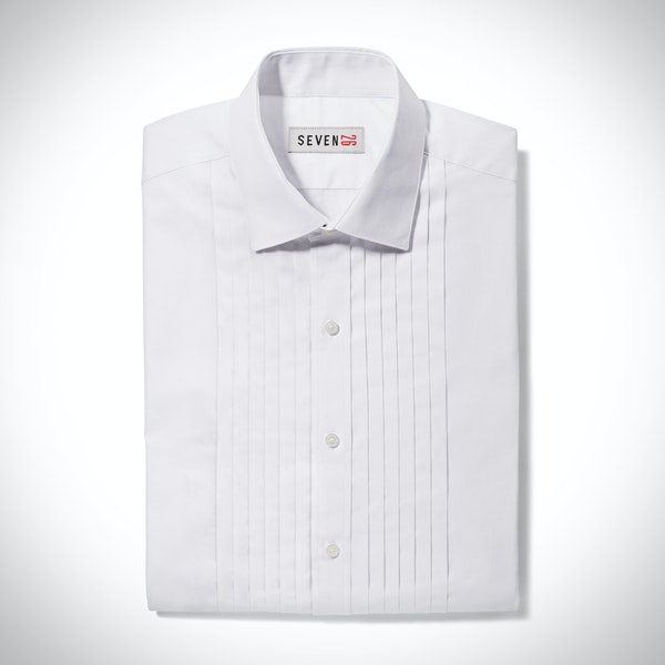 Pleated White Spread Collar Shirt