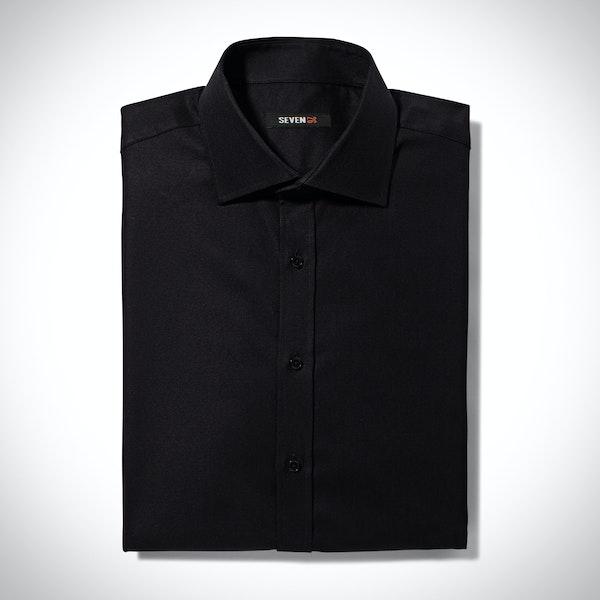 Black Spread Collar Shirt
