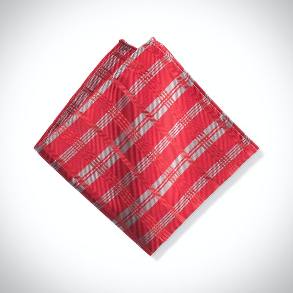 Ruby Valentino Plaid Pocket Square