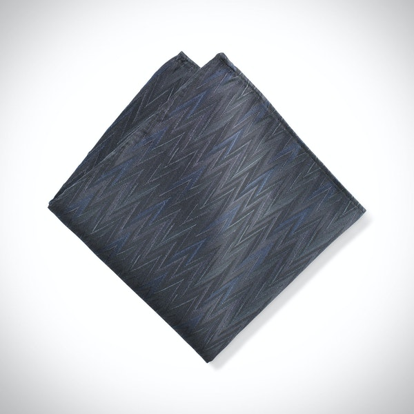Pewter Zig Zag Pocket Square