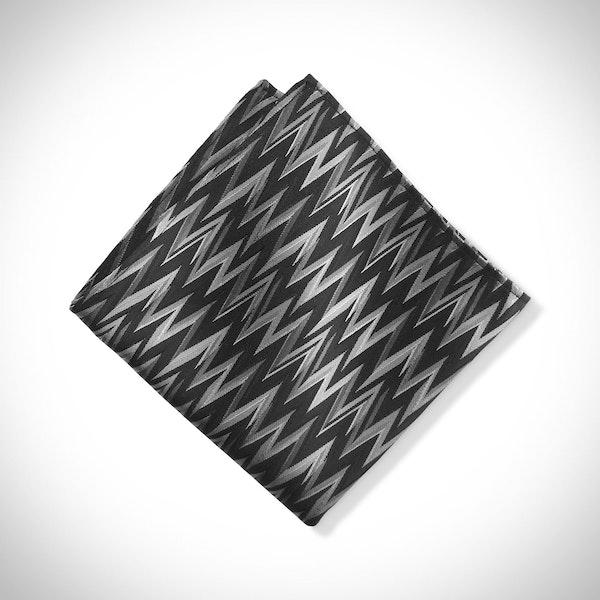 Black Zig Zag Pocket Square