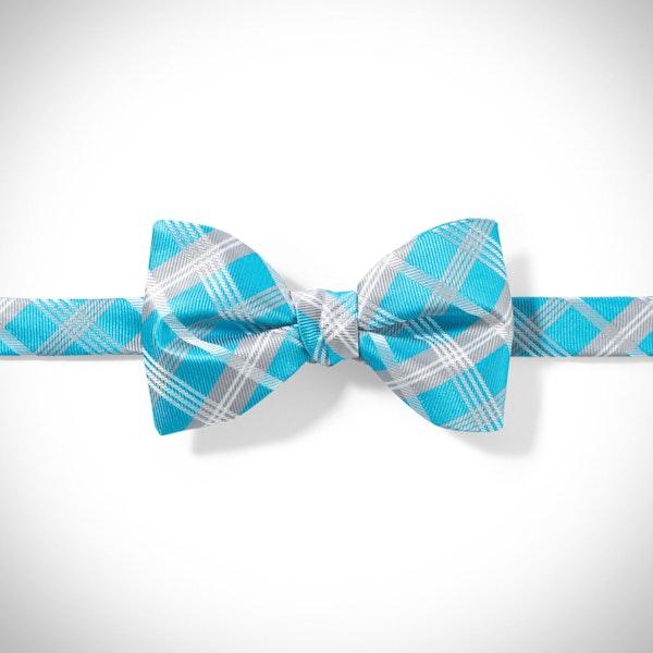 Malibu-Aqua Plaid Pre-Tied Bow Tie