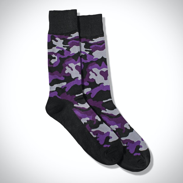 Royal Purple Camo Print Socks