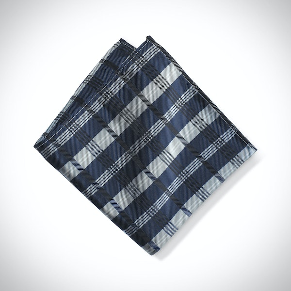 Dark Navy Plaid Pocket Square