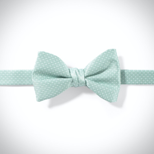 Mint and White Pin Dot Bow Tie