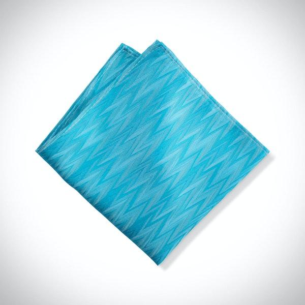Malibu-Aqua Zig Zag Pocket Square