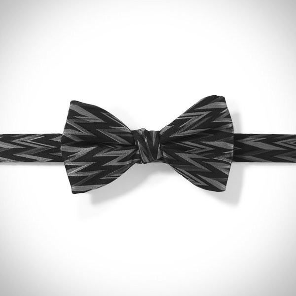 Black Zig Zag Pre-Tied Bow Tie