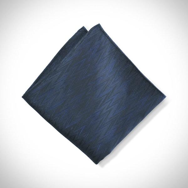 Dark Navy Zig Zag Pocket Square