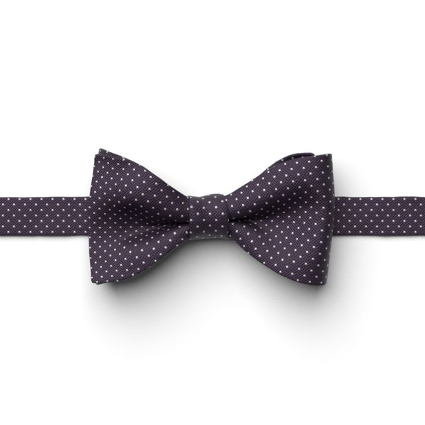 Eggplant Pin Dot Pre-Tied Bow Tie