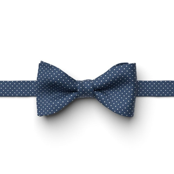 Indigo Pin Dot Pre-Tied Bow Tie