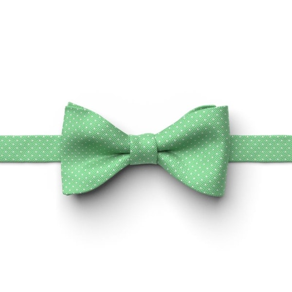 Kelly Green Pre-Tied Pin Dot Bow Tie