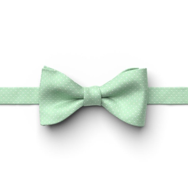 Mint Green Pin Dot Pre-Tied Bow Tie