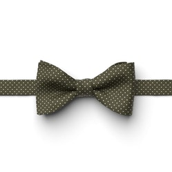 Olive Pin Dot Pre-Tied Bow Tie