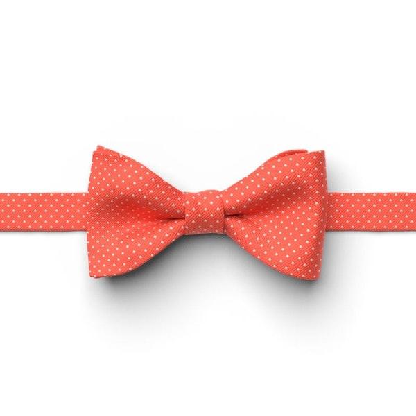 Sun Coral Pin Dot Pre-Tied Bow Tie