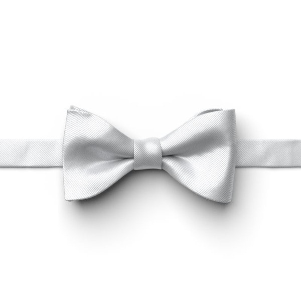 Silver Pre-Tied Bow Tie