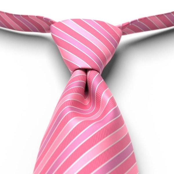 Bubble Gum Pre-Tied Striped Tie