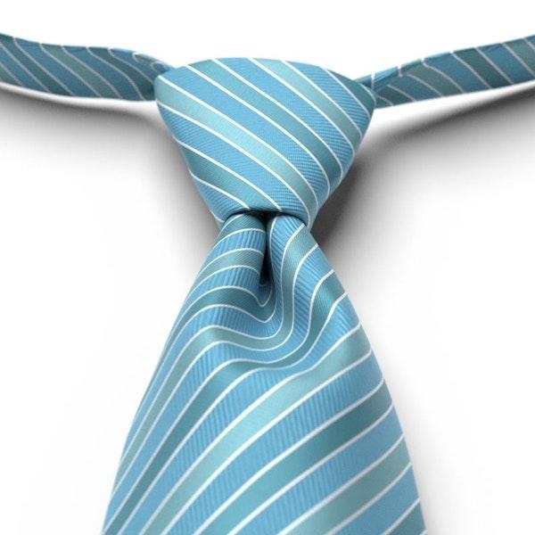 Blue Ice Pre-Tied Striped Tie