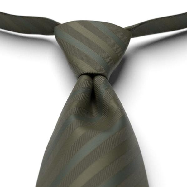 Olive Pre-Tied Striped Tie