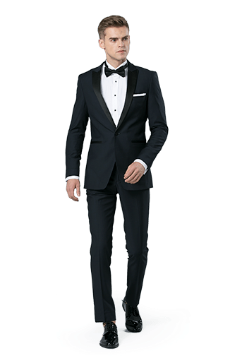 Black suit worn in front of a white background.