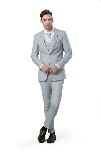 Cement Gray Notch Lapel suit worn in front of a white background.