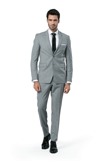 Gray Sharkskin Notch Lapel suit worn in front of a white background.