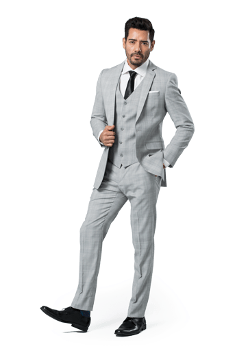 Light gray plaid notch lapel suit worn in front of a white background.
