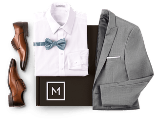 Menguin box with The Ginza suit with brown shoes, white shirt, bow tie.