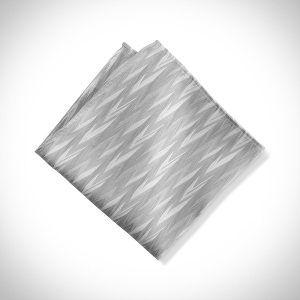 Platinum Zig Zag Pocket Square