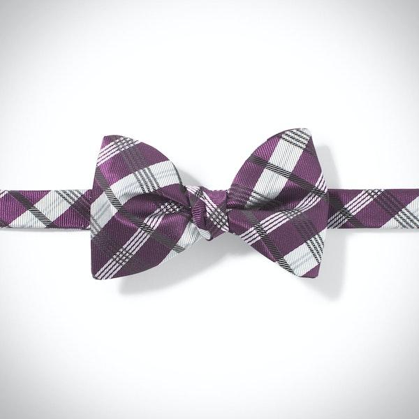 Plum Plaid Pre-Tied Bow Tie