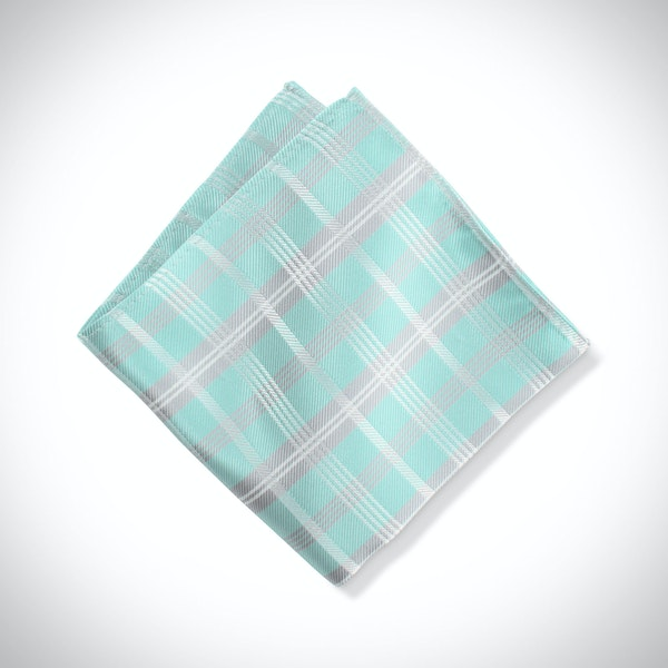 Tiffany Blue Plaid Pocket Square