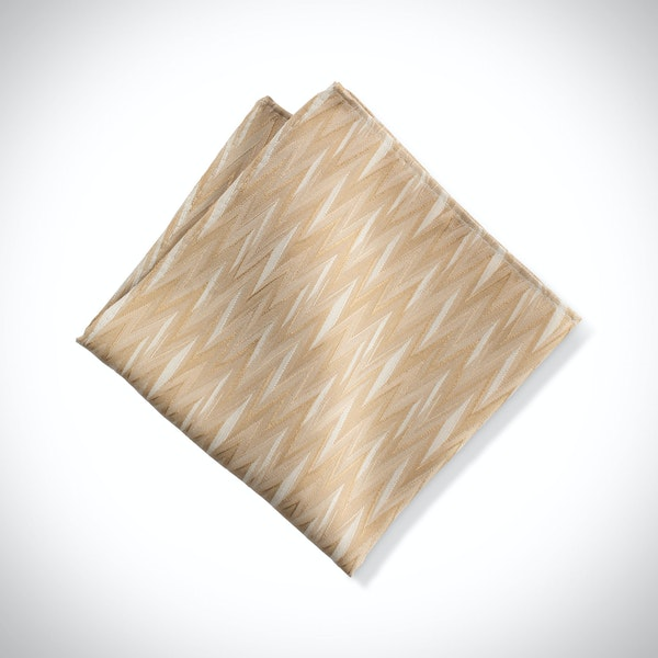 Toffee Zig Zag Pocket Square