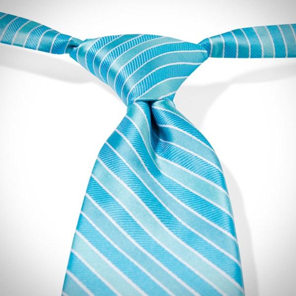 Malibu-Aqua Pre-Tied Striped Tie
