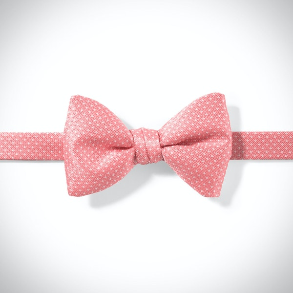 Coral Reef and White Pin Dot Bow Tie