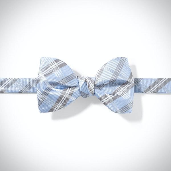 Ice Blue Plaid Pre-Tied Bow Tie