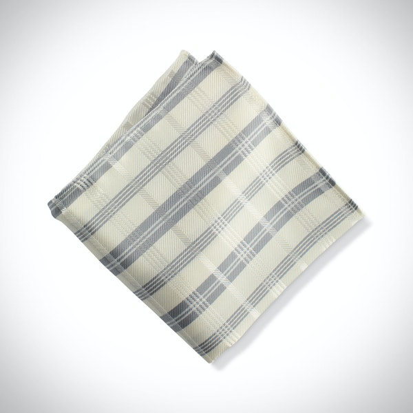 Ivory Plaid Pocket Square