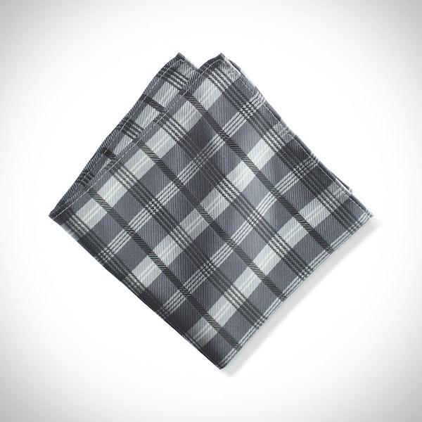 Pewter Plaid Pocket Square